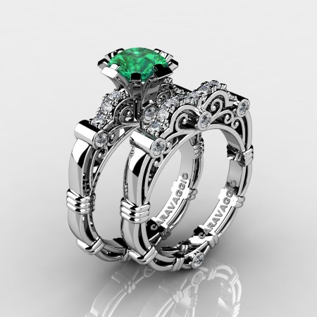 Art-Masters-Caravagio-14K-White-Gold-1-Carat-Emerald-Diamond-Engagement-Ring-Wedding-Band-Set-R623S-14KWGDEM-P