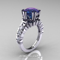 Modern 14K White Gold 3.0 Ct Russian Alexandrite Diamond Solitaire Wedding Anniversary Ring R325-14KWGDAL