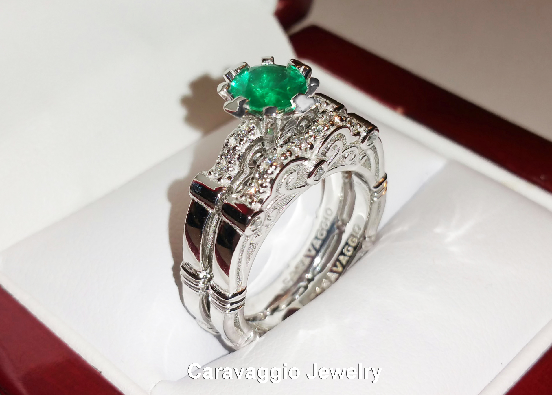Art Masters Caravaggio 14k White Gold 10 Ct Colombian Emerald Diamond  Engagement Ring Wedding Band Set