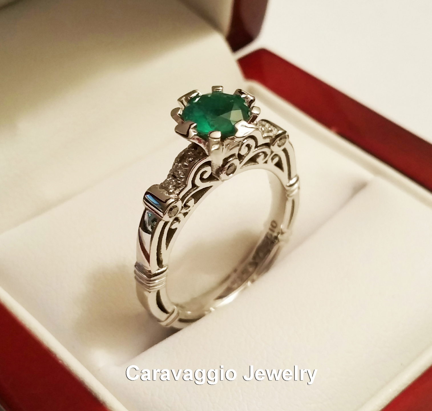 primary emerald art ct wedding masters engagement caravaggio ring white set jewelry product diamond band colombian gold menu
