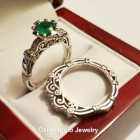 Art Masters Caravaggio 14K White Gold 1.0 Ct Colombian Emerald Diamond Engagement Ring Wedding Band Set R623S-14KWGDCEM