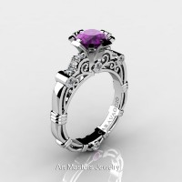 Art Masters Caravaggio 14K White Gold 1.0 Ct Amethyst Diamond Engagement Ring R623-14KWGRDAM