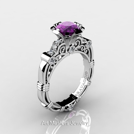 Caravaggio-Jewelry-14K-White-Gold-1-Carat-Amethyst-Diamond-Engagement-Ring-R623-14KWGDAM-P
