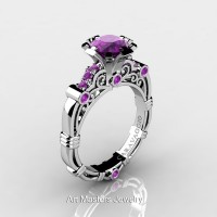 Art Masters Caravaggio 14K White Gold 1.0 Ct Amethyst Engagement Ring R623-14KWGAM