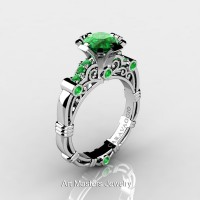 Art Masters Caravaggio 14K White Gold 1.0 Ct Emerald Engagement Ring R623-14KWGEM