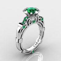 Art Masters Caravaggio 14K White Gold 1.0 Ct Emerald Engagement Ring R623-14KWGEM