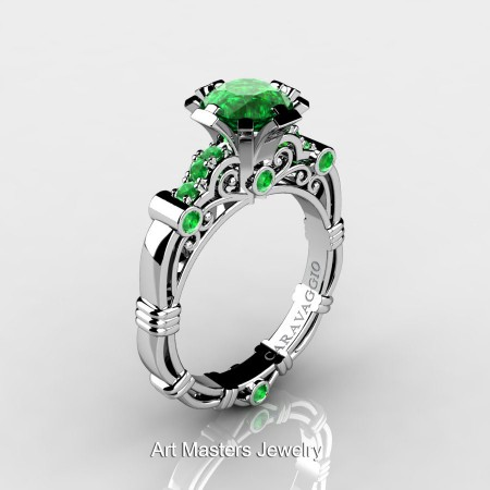 Caravagio-Jewelry-14K-White-Gold-1-Carat-Emerald-Engagement-Ring-R623-14KWGEM-P