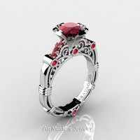 Art Masters Caravaggio 14K White Gold 1.0 Ct Ruby Engagement Ring R623-14KWGR