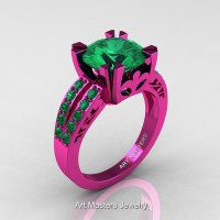 Modern Vintage 14K Fuchsia Pink Gold 3.0 Carat Emerald Solitaire Ring R102-14KFPGEM
