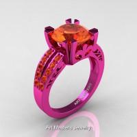 Modern Vintage 14K Fuchsia Pink Gold 3.0 Carat Orange Sapphire Solitaire Ring R102-14KFPGOS