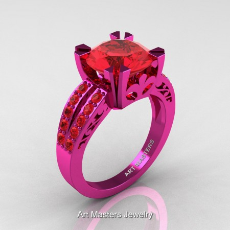 Modern-Vintage-14K-Fuchsia-Pink-Gold-3-Ct-Ruby-Solitaire-Ring-R102-14KFPGR-P