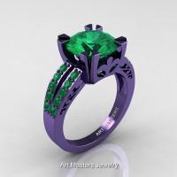 Modern Vintage 14K Violet Gold 3.0 Carat Emerald Solitaire Ring R102-14KVGEM
