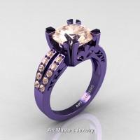 Modern Vintage 14K Violet Gold 3.0 Carat Morganite Solitaire Ring R102-14KVGM