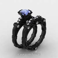 Caravaggio 14K Black Gold 1.25 Ct Light Blue Sapphire Diamond Engagement Ring Wedding Band Set R623S-14KBGDNLBS