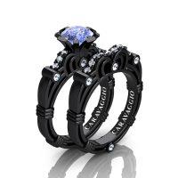 Caravaggio 14K Black Gold 1.25 Ct Light Blue Sapphire Diamond Engagement Ring Wedding Band Set R623S-14KBGDNLBS