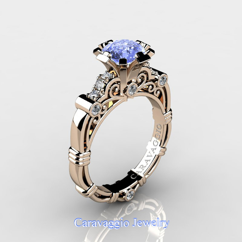 Caravaggio 14k Rose Gold 1 25 Ct Light Blue Sapphire