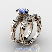 Caravaggio 14K Rose Gold 1.25 Ct Light Blue Sapphire Diamond Engagement Ring Wedding Band Set R623S-14KRGDNLBS