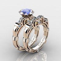 Caravaggio 14K Rose Gold 1.25 Ct Light Blue Sapphire Diamond Engagement Ring Wedding Band Set R623S-14KRGDNLBS