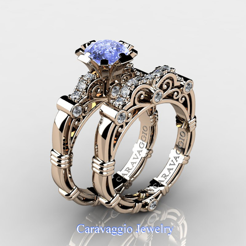 Caravaggio 14K Rose Gold 1 25 Ct Light Blue Sapphire Diamond