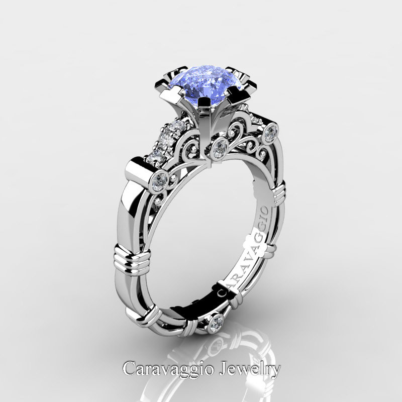 caravaggio 14k white gold 125 carat light blue - Sapphire And Diamond Wedding Rings