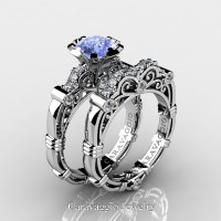 Caravaggio 14K White Gold 1.25 Ct Light Blue Sapphire Diamond Engagement Ring Wedding Band Set R623S-14KWGDNLBS