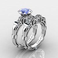 Caravaggio 14K White Gold 1.25 Ct Light Blue Sapphire Diamond Engagement Ring Wedding Band Set R623S-14KWGDNLBS