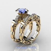 Caravaggio 14K Yellow Gold 1.25 Ct Light Blue Sapphire Diamond Engagement Ring Wedding Band Set R623S-14KYGDNLBS