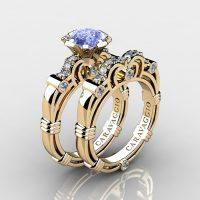 Caravaggio 14K Yellow Gold 1.25 Ct Light Blue Sapphire Diamond Engagement Ring Wedding Band Set R623S-14KYGDNLBS