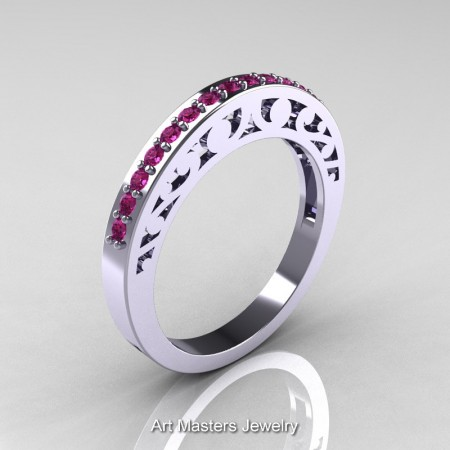 Modern-Vintage-White-Gold-Pink-Sapphire-Wedding-Band-R102B-WGPS-P2