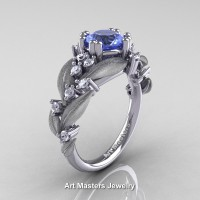 Nature Classic 14K White Gold 1.0 Ct Natural Light Blue Sapphire Diamond Leaf and Vine Engagement Ring R340S-14KWGDDLBS