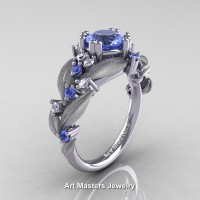 Nature Classic 14K White Gold 1.0 Ct Natural Light Blue Sapphire Diamond Leaf and Vine Engagement Ring R340S-14KWGDLBS