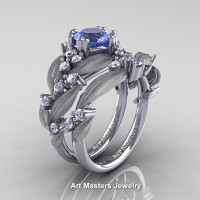 Nature Classic 14K White Gold 1.0 Ct Natural Light Blue Sapphire Diamond Leaf and Vine Engagement Ring Wedding Band Set R340SS-14KWGDDLBS