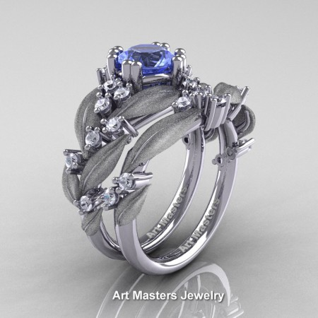 Nature-Classic-14K-White-Gold-1-0-Ct-Light-Blue-Sapphire-Diamond-Leaf-and-Vine-Engagement-Ring-Wedding-Band-Set-R340SS-14KWGDLBS-P