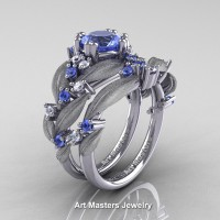 Nature-Classic-14K-White-Gold-1-0-Ct-Light-Blue-Sapphire-Diamond-Leaf-and-Vine-Engagement-Ring-Wedding-Band-Set-R340SS-14KWGDLBS-P2