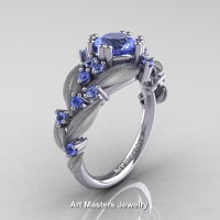 Nature Classic 14K White Gold 1.0 Ct Natural Light Blue Sapphire Leaf and Vine Engagement Ring R340S-14KWGLBS