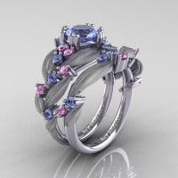 Nature Classic 14K White Gold 1.0 Ct Natural Light Blue and Light Pink Sapphire Leaf and Vine Engagement Ring Wedding Band Set R340SS-14KWGLPSLBS