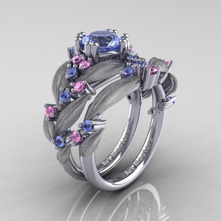Nature-Classic-14K-White-Gold-1-0-Ct-Light-Blue-andLight-Pink-Sapphire-Leaf-and-Vine-Engagement-Ring-Wedding-Band-Set-R340SS-14KWGLPSLBS-P