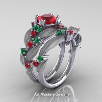 Nature Classic 14K White Gold 1.0 Ct Ruby Emerald Leaf and Vine Engagement Ring Wedding Band Set R340SS-14KWGEMR