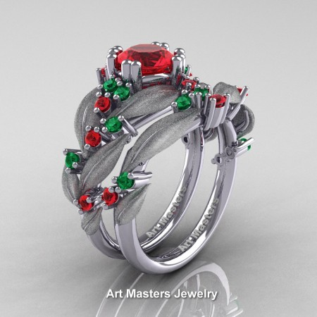 Nature-Classic-14K-White-Gold-1-0-Ct-Ruby-Emerald-Leaf-and-Vine-Engagement-Ring-Wedding-Band-Set-R340SS-14KWGEMR-P