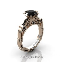 Art Masters Caravaggio 14K Rose Gold 1.0 Ct Black Diamond Engagement Ring R623-14KRGBD