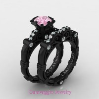 Caravaggio 14K Black Gold 1.0 Ct Light Pink Sapphire Diamond Engagement Ring Wedding Band Set R623S-14KBGDLPS