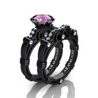 Caravaggio 14K Black Gold 1.0 Ct Light Pink Sapphire Diamond Engagement Ring Wedding Band Set R623S-14KBGDLPS