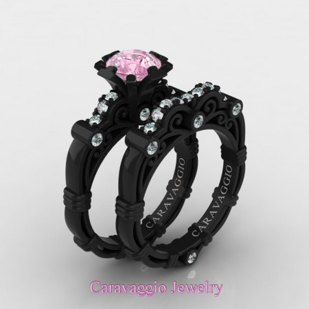 Caravaggio-14K-Black-Gold-1-Carat-Light-Pink-Sapphire-Diamond-Engagement-Ring-Wedding-Band-Set-R623S-14KBGDLPS-P