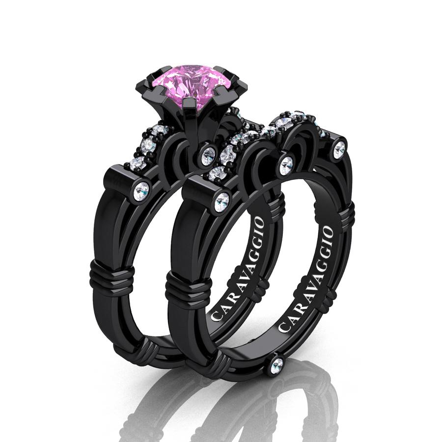 Caravaggio 14K Black Gold 1.0 Ct Light Pink Sapphire Diamond ...