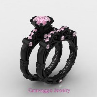 Caravaggio 14K Black Gold 1.0 Ct Light Pink Sapphire Engagement Ring Wedding Band Set R623S-14KBGLPS
