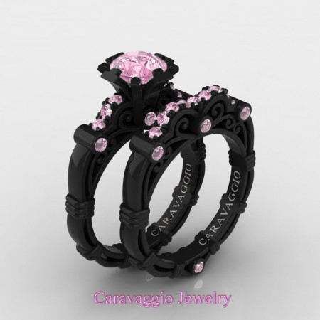 Caravaggio-14K-Black-Gold-1-Carat-Light-Pink-Sapphire-Engagement-Ring-Wedding-Band-Set-R623S-14KBGLPS-P