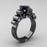Caravaggio 14K Black Gold 1.0 Ct Oval Black and White Diamond Engagement Ring R639O-14KBGDBD