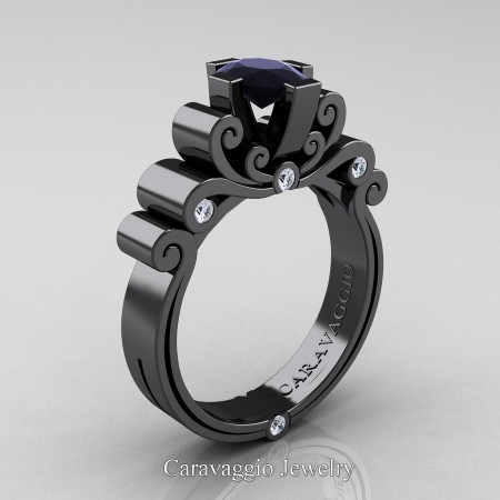 Caravaggio-14K-Black-Gold-1-Carat-Oval-Black-and-White-Diamond-Engagement-Ring-R639O-14KBGDBD-P