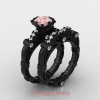Caravaggio 14K Black Gold 1.25 Ct Pink Morganite Diamond Engagement Ring Wedding Band Set R623S-14KBGDPM