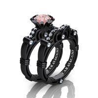 Caravaggio 14K Black Gold 1.25 Ct Pink Morganite Diamond Engagement Ring Wedding Band Set R623S-14KBGDPM